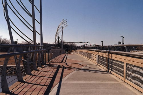 Public Sculptures by Vicki Scuri SiteWorks at Lewis Street over the Arkansas River, Wichita, KS, Wichita - Lewis Street Bridge