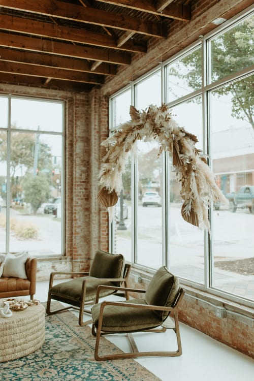 Interior Design by Emily Barton Design seen at Provision, Hartwell - Dried and Handmade Floral Installation