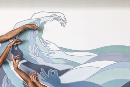 Murals by Allison Kunath seen at Hulakai Hotel, San Juan del Sur - Party Wave
