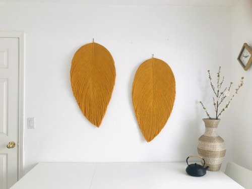 Macrame Wall Hanging by YASHI DESIGNS at Netflix Los Angeles, Los Angeles - Set of Giant Fiber art leaf soft sculptures