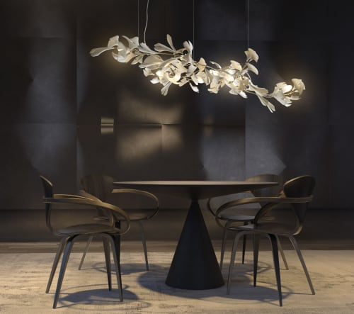 Chandeliers by ANDREEA BRAESCU PORCELAIN AND LIGHT INSTALLTIONS seen at Private Residence, Paris - Light Sculpture Ginkgo 73