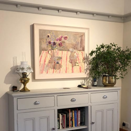 """Paintings by Lynne Cartlidge seen at Private Residence, Cowbridge - """"Sunlit Queen of the Night Tulips"""" Painting"""