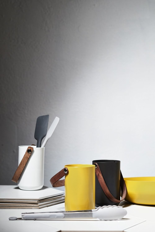 Utensils by Ndt.design seen at Creator's Studio, Delray Beach - Utensil/Plant Holder Leather Handle - Dapper Collection