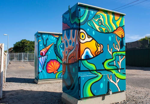 Murals by Sarah Boese seen at Department of Planning, Transport and Infrastructure (DPTI), Adelaide - Painted Signal Boxes