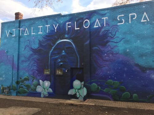 Murals by Nico Cathcart seen at Vitality Float Spa, Richmond - Cosmic Moxie