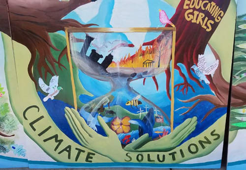 Murals by Laurie Marshall seen at Ukiah High School, Ukiah - The Singing Tree of Climate Solutions