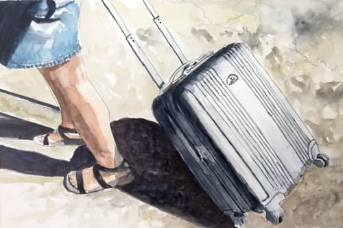 Paintings by Arran Harvey seen at Arran Harvey Studio, San Francisco - Pulling Suitcase, 2017, 11 x 15 inches, watercolor