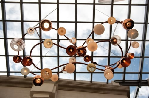 Chandeliers by Judy Darragh seen at Hotel DeBrett, Auckland - Hand Spun Copper Chandelier