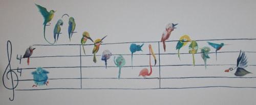 "Murals by LaRa Gombau seen at Private Residence, Alcanar - PAJAROLEANDO (""Dancing birds"")"
