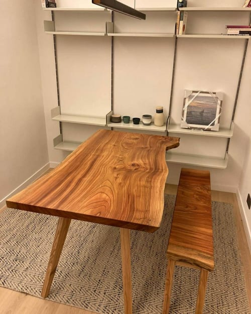 Tables by Sprue Bespoke Furniture seen at Hong Kong - Keyaki Live edge Table and Bench