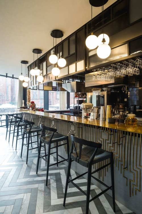 Interior Design by ANNVIL seen at Riga, Riga - St. Petrus. One restaurant, two atmospheres