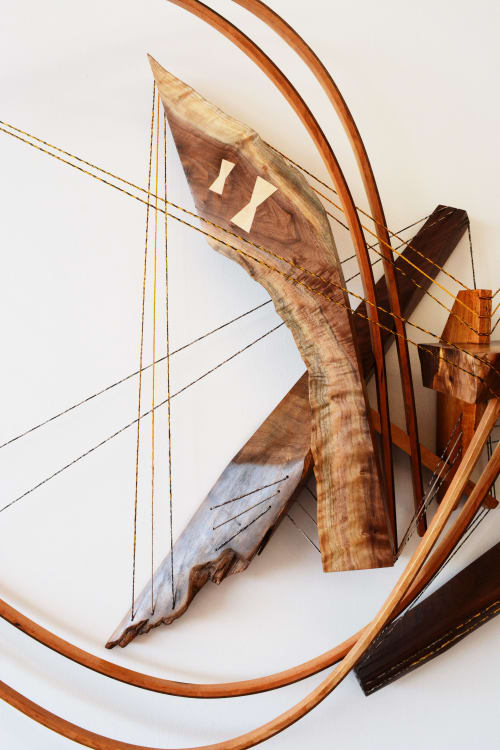 Sculptures by Oliver Clark - We Are Clark Studios seen at Private Residence, Kansas City - Icarus #11 Wooden Curvilinear Abstract Sculpture