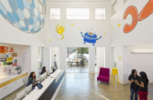 Murals by Johnny Botts seen at Facebook HQ, Menlo Park - Wonderball