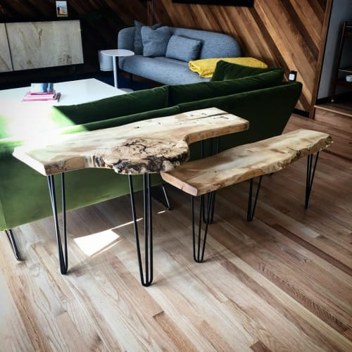 Benches & Ottomans by Garage Goods seen at Private Residence, Portland - Live Edge Tripod Benches