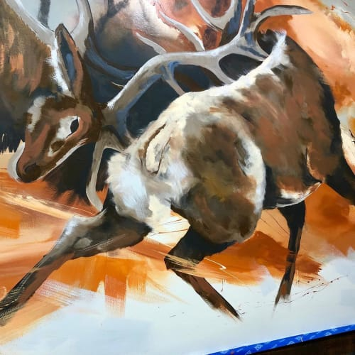 Murals by Josh Scheuerman seen at Gateway Grille, Kamas - Fluid Wildlife Mural