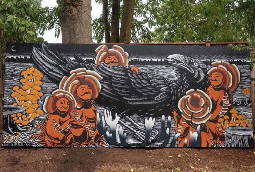 Street Murals by Kill Choy seen at Brown Bottle Farm, Mulino - Mushroom Mural