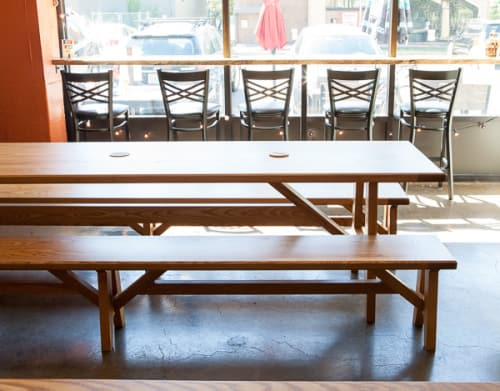 Tables by Brace & Bit seen at The Growler Guys, Portland - Custom Tables and Benches