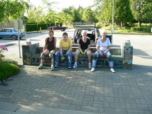 Public Mosaics by Connie Glover Pottery seen at Newton Seniors Centre, Surrey - Flower Bench