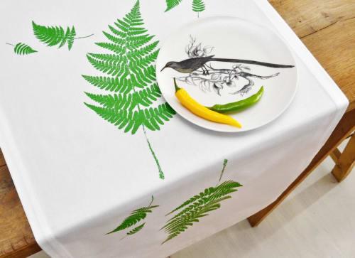 Tableware by JAGABABA, Saša D. Škrjanec seen at Private Residence - Tablerunner, napkins, placemats, bread baskets, bread bag, tea towels