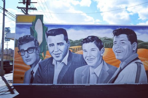 Street Murals by Levi Ponce seen at Bobo's Burgers, Los Angeles - The Day The Music Died