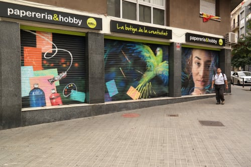 Murals by Laura9, Laura Tietjens seen at Carrer de Xifré, Barcelona - Mural on rollershutter for shop in 2019
