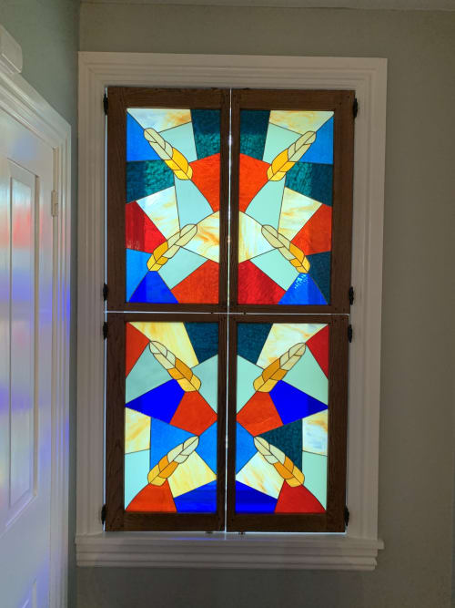 Interior Design by Annie Sinton Glass seen at Private Residence, Kennett Square - Indoor stained glass shutters