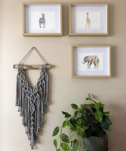Macrame Wall Hanging by Ariella Home seen at Private Residence, Montrose - Small Gray Macrame Wall Hanging