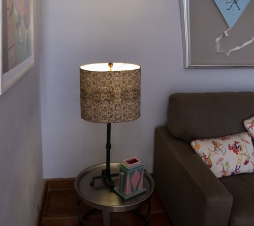 Lighting by Ri Anderson seen at Private Residence, San Miguel de Allende - Sepia Roses custom Lampshade