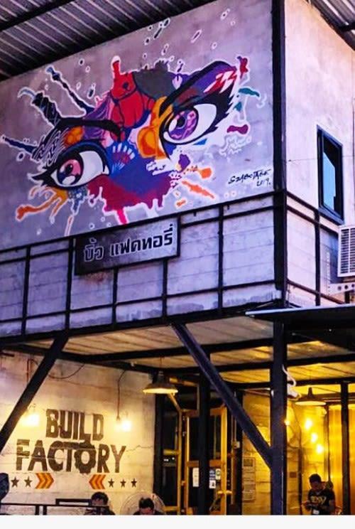 Murals by Szabotage seen at BUILD Factory Night Club, Tambon Khuekkhak - Mural