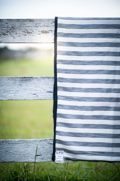Linens & Bedding by Local Produce Design seen at Private Residence, Charlottesville - Black and White Stripe Blanket
