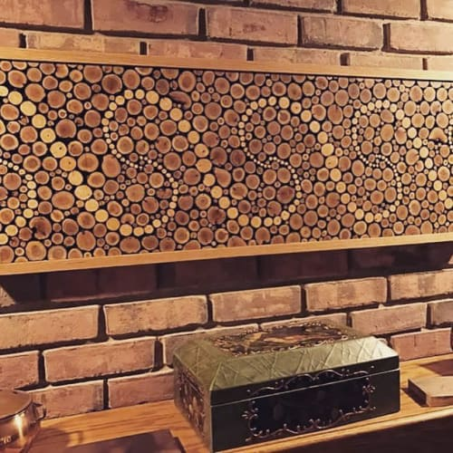 Wall Hangings by MP Custom Made seen at Private Residence, Chicago - Wave Wood Mosaic