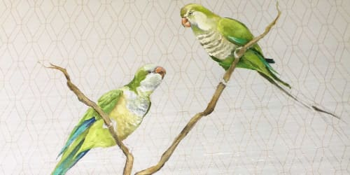 Murals by Cindy Mathis Murals and Fine Art seen at The Country Club, New Orleans - A pandemonium of bright green Quaker parrots-Mural