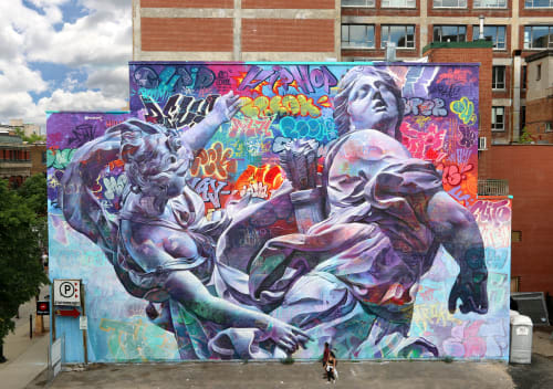 Street Murals by PichiAvo seen at Saint-Laurent, Montreal - Mural Fest in Montreal, Canada