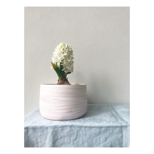 Vases & Vessels by HKD Ceramics seen at Private Residence, London - Pink + White Marbled Planter