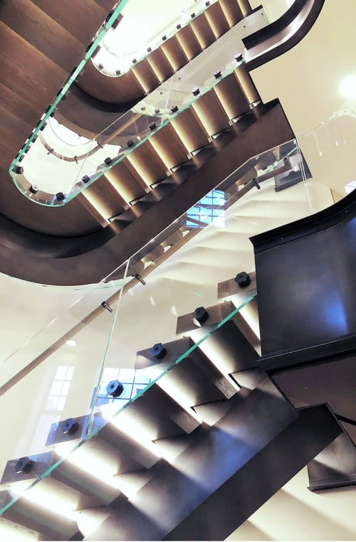 Architecture by Amuneal seen at Bottega Veneta New York Maison, New York - Bottega Veneta Curved Stair