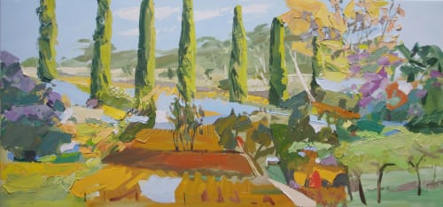 Paintings by Lise Temple seen at Helping Hand, Golden Grove - Cypresses and Exotics