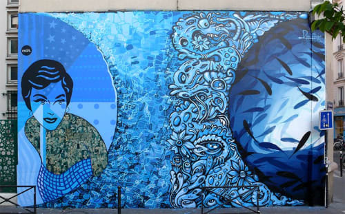Street Murals by Franck Duval seen at Private Residence, Paris - Blue Souls