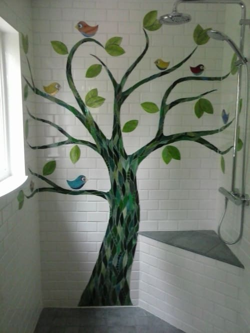 Art & Wall Decor by JK Mosaic, LLC seen at Private Residence - Tree With Birds Shower Wall