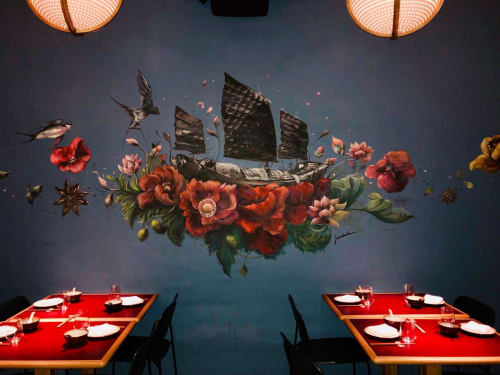 Murals by Elsa Jeandedieu Studio at Lee Garden Three - Spice Route Inspired Restaurant Mural