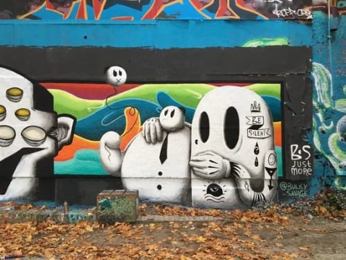 """Murals by BS Just More (Bulky Savage) seen at Mellowpark, Berlin - """"Keep It Shut"""" Mural"""
