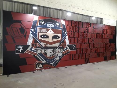 Murals by D Young V seen at Del Mar Racing, Del Mar - KAABOO DEL MAR 2018