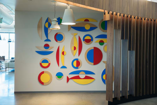 "Murals by ANTLRE - Hannah Sitzer seen at Google RWC SEA6, Redwood City - ""One Fish"""