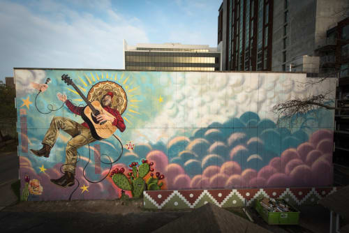Street Murals by Bradford Maxfield (Estudio Bradlio) seen at 812 San Antonio Parking Garage, Austin - Exalted