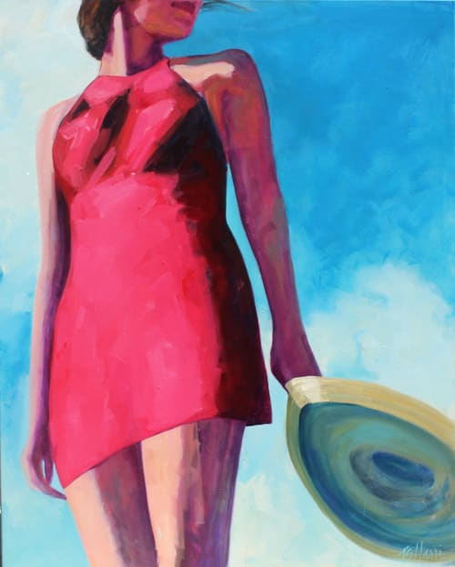 "Paintings by T.S. Harris aka Tracey Sylvester Harris seen at Private Residence, San Francisco - 'Straw Hat Blowing', 60""x48"" original oil painting"