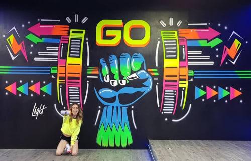 Murals by Light Andrade seen at Rambla10, Ciudad de Guatemala - Neon Mural
