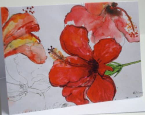 Paintings by Gerry Wilmer seen at Private Residence, Cambridge - Red Hibiscus