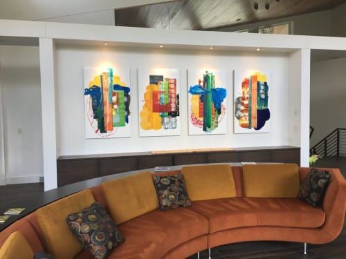 Paintings by Mary Zeran seen at Private Residence, Cedar Rapids - Four Abstract Paintings Inspired by Nature