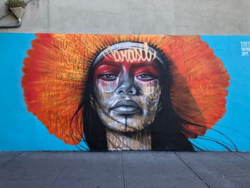 Street Murals by Tito Ferrara seen at 6th Avenue & West Houston Street, New York - Amazonia Urbana