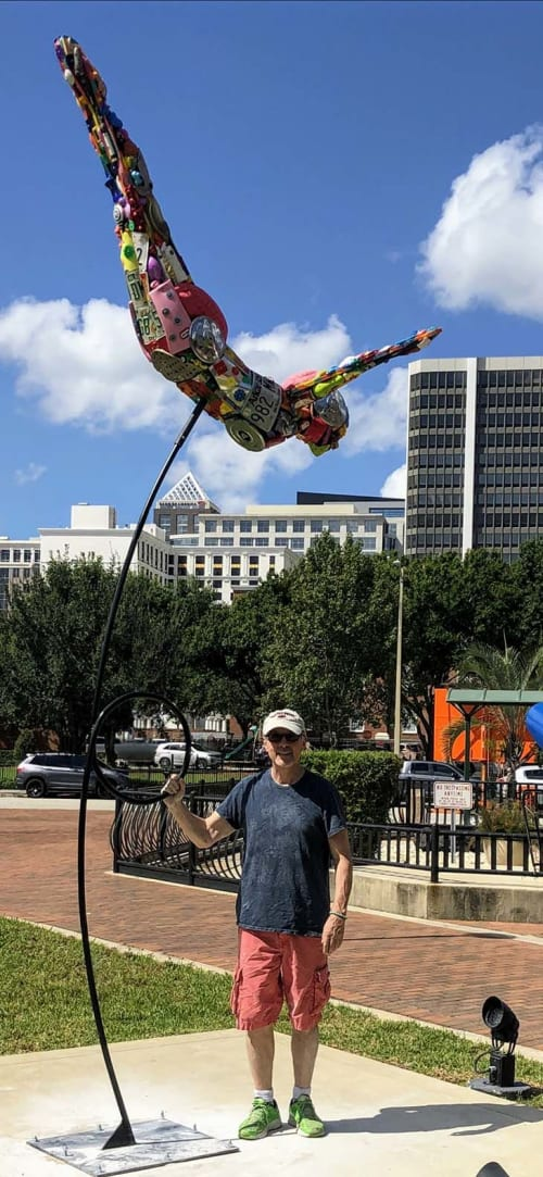 Public Sculptures by Donald Gialanella seen at Orange County Administration Center, Orlando - Diver 2.0
