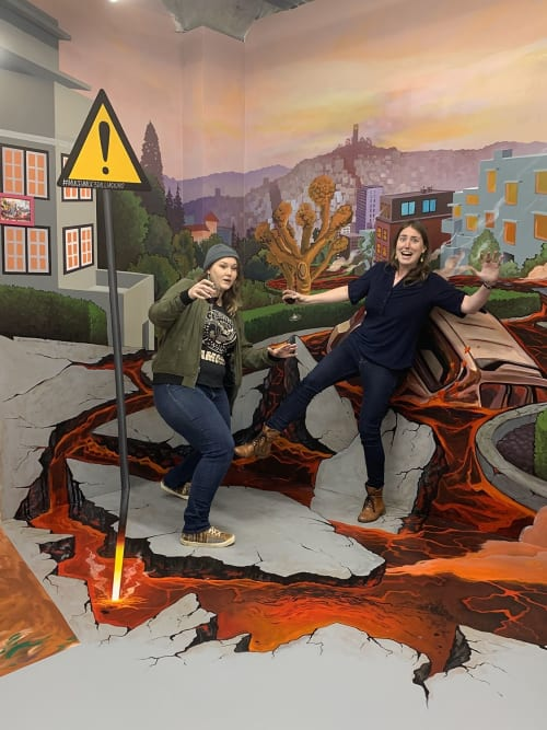 Murals by Lindsey Millikan (Milli) seen at Museum Of 3D Illusions, San Francisco - Lombard Street Disaster